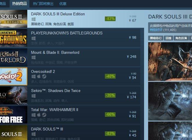 67元史低促销!黑暗之魂3:豪华版登顶Steam热销榜
